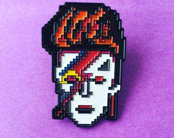 David Bowie Enamel Pin / Aladdin Sane / Ziggy Stardust / 8 bit / Pixelated