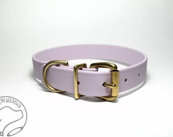 "Pastel Purple Lavender / 1"" (25mm) Wide / Biothane Dog Collar / Leather Look and Feel / Stainless Steel or Brass Hardware"