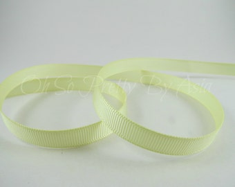 "3/8"", 7/8"" or 1 1/2"" Light Yellow Ribbon - Baby Maize - Grosgrain - You Choose Length & Width -  Bow, Scrapbooking, Sewing, Art Craft Supply"
