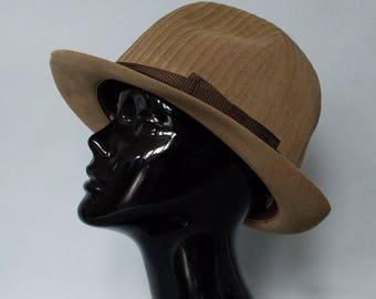 "Vintage Women's Beige Felted Wool Wide Brim Boho Hat Small 55cm 21.5"""