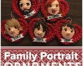 Custom Family and Pet Portrait Valentine Ornament or Decor Amigurumi Set