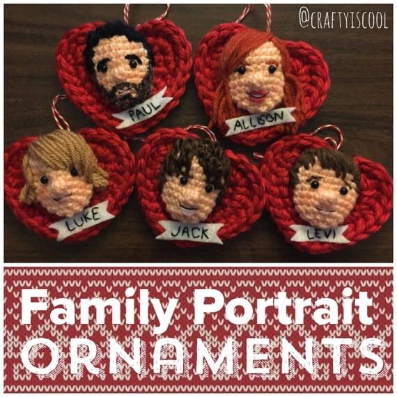 Custom Family and Pet Portrait Valentine Ornament or Decor Amigurumi Set
