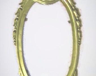 Large Solid Cast Brass Frame Antique Oval Ornate Art Nouveau