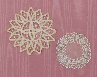 Antique doilies, lot of 2 early 1900's doilies, Battenberg lace doily, small embroidered and drawnwork doily