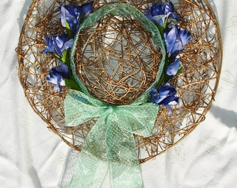 Sparkly Golden Sun Hat Wreath with Green PokaDot Bow - OOAK