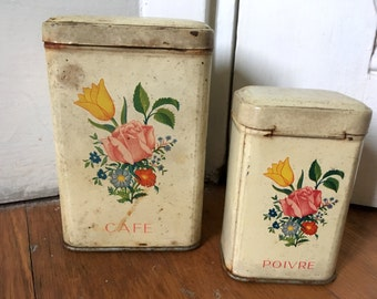 Coffee and pepper tins. Vintage French set of two metal containers with flowers