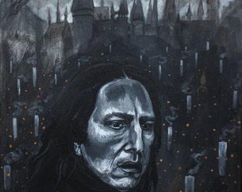 Severus Snape Alan Rickman acrylic painting on canvas