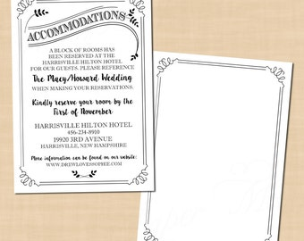"Typography Accommodations Invitation Insert, Leafy, Industrial, Steampunk (3.5""x5""): Text-Editable in Word®, Printable Instant Download"