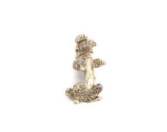 Vintage Gerrys Poodle Brooch Gold Tone Figural Dog Lapel Pin Marcasite Costume Jewelry