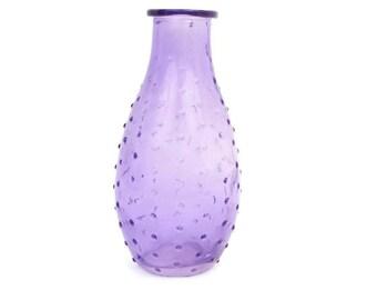 Vintage Amethyst Glass Vase Bump Texture Purple Bottle Floral Arrangement Art Glass