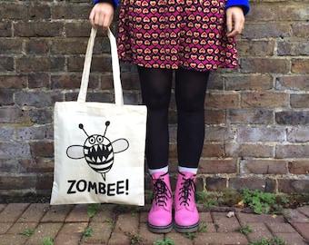 Zombee Tote Bag, Funny Tote Bag, Zombie Print, Bee Tote Bag, hello DODO Tote Bag, Handprinted Tote, Screen Print, Stocking Stuffer, Horror