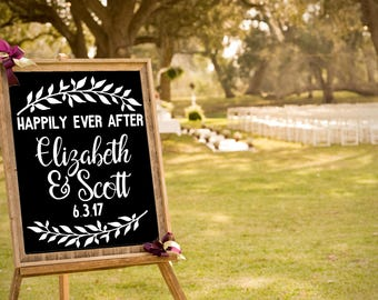Happily Ever After Decal, Custom Wedding Vinyl, DIY Wedding Ceremony Sign, Wedding Sticker, DIY Bride, Chalkboard decal for Bride and Groom