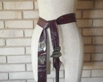 Vintage Maroon Eggplant Purple Leather Obi Sash Belt with Metal Hearts 80s One Size