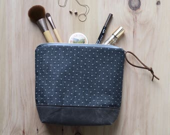 Cosmetic Bag in Black Dots with Waxed Canvas - Zipper Clutch, Makeup Pouch, Waxed Canvas Make Up Pouch, Bridesmaid Gift
