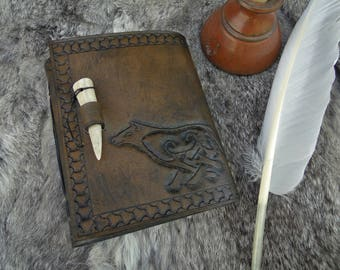 Celtic Wolf Leather Journal / Notebook - Antler Closure, Viking Medieval, Tooled - 240 Blank White Pages