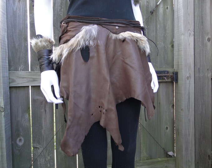 Battle Skirt Leather & Fur, Warrior Viking Tribal Style - Wrap Skirt Adjustable Size S-L