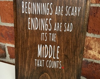 Beginnings Are Scary- Hope Floats Wooden Plaque-Sign