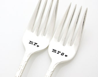 Mr and Mrs table setting, hand stamped wedding forks for unique engagement gift. Table decor by milk & honey ®