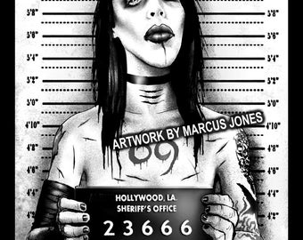 Gothic Art, Marilyn Manson,Mugshot art,  Witchcraft, Occult , Witch , Goth, dark Art, Art Print by Marcus Jones