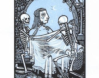 Rest - Linocut on paper - Kathleen Neeley