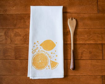Lemons Kitchen Towel, block print, linocut, yellow, citrus, flour sack towel (Made to Order)