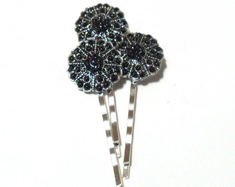Black Sparkle Rhinestone Bobby Pin, gift for her