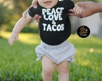 Peace Love Tacos Shirt or Bodysuit Toddler & Baby Sizes