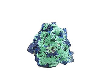 Blue Azurite with Crystalline Balls of Green Chrysocolla and Malachite Earth Mineral Specimen from Morenci Arizona