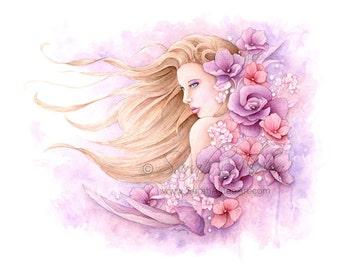 Watercolor Girl Print, Floral Wall Decor, Purple Flower Print Fantasy Art Portrait, Flower Portrait, Floral Art Print Flower Girl Wall Decor