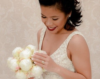 Ivory Peony Bud Wedding Bouquet, Peony Bridal Wedding Bouquet- Made To Order-SOLD