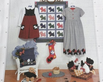 Scottish Terrier Dog Wall Crib Quilt Pillow Christmas Stocking Dress Border Stuffed Toy Sewing Pattern UC FF Uncut Quilting