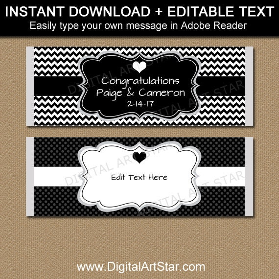 chocolate bar label template - black and white wedding candy bar wrappers editable