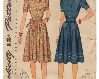 "1940's Simplicity One-Piece Dress with Heart Shaped Neckline, Short Sleeves and Pockets Pattern - Bust 38"" - No. 4102"