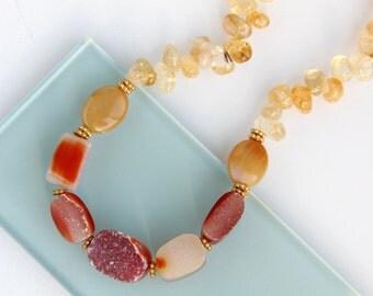 Carnelian Druzy Necklace with Citrine - Gold, Crimson, Vermilion, Yellow, Paprika, Red