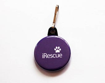 iRescue Zipper Pull, Animal Rescue, Purple, Zipper Charm, Purse Charm, gift for him, gift for her, stocking stuffer, dog cat rescue (7530)