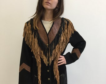 SALE - Price Reduced -Vintage Leather Fringe Jacket- Brown and Black Leather- Insane Allover Fringe - Scully - Size Medium M