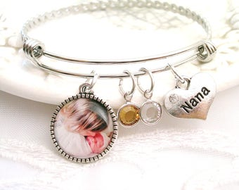 Photo Bracelet Photo Gift for Grandmother Mothers Bracelet Personalized Picture Charm Birthstone Jewelry Bracelet for Wife Or Nana Gift