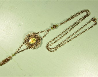 Yellow Rose Necklace - Vintage Brass Filigree Cabochon Tassel