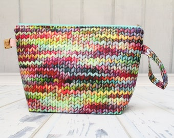 Knitted fabric. Jumbo Clutch zipper bag, Knitting for larger projects, Sweater Bag, Blanket project bag, Jumbo Wedge bag with zipper
