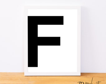 Letter F, Typography Print, Letter Print, Printable Monogram, Printable Art, Minimal Decor, Black and White Wall Art, Digital Download