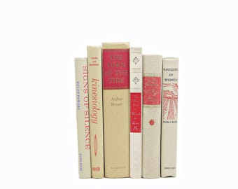 Vanilla Beige Decorative Books, Red Book Set, Wedding Centerpiece, Instant Library, Purple Pink Books, Old Book Collection, IVory Book Decor