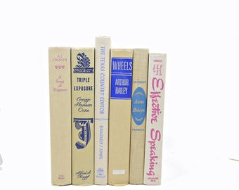 Beige Antique Book Set, BLue PinkDecorative Books, Old  Book Collection, Wedding Decor, Home Office Decor, Book Decor, y