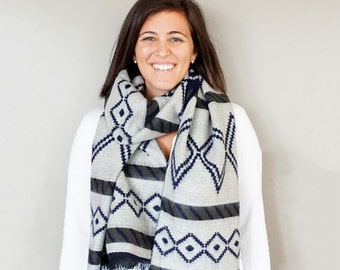 Blue and White Aztec Tribal Print Reversible Blanket Scarf