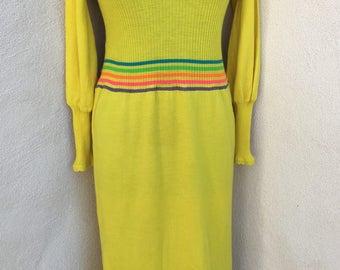 Vintage Mod maxi dress yellow wool knit neon yarn peekaboo holes accents by Banff Gianni Ferri sz M