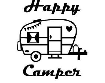 Happy Camper Decal, Vinyl Decal, Retro Camper, Vintage Camper, RV Decal, Vinyl Sticker, Camping Gift, Window Decal, Mug Decal, Wine Glass