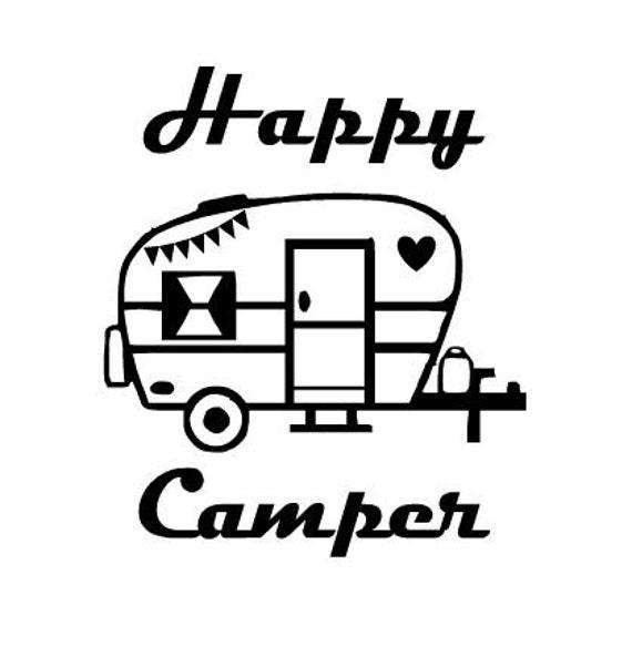 Happy Camper Decal Vinyl Decal Retro Camper Vintage Camper