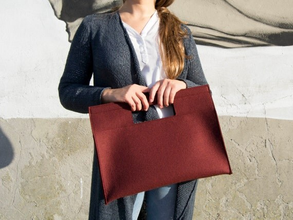 40% OFF - Wool Felt HANDBAG / burgundy bag / maroon handbag / wool felt bag / minimalist bag / made in Italy