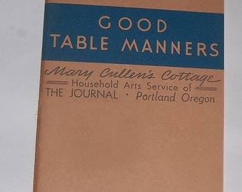 ca1940 Book, Good Table Manners