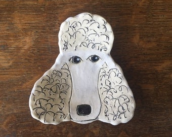 Spoon Rest Stoneware Clay WHITE POODLE