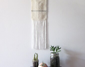 White Grey and Brass wall hanging - cream gray wool